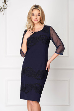 StarShinerS darkblue occasional midi pencil dress with veil sleeves with sequin embellished details