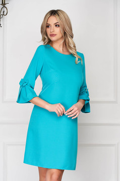 Turquoise elegant dress straight short cut cloth with 3/4 sleeves