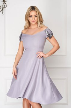 StarShinerS grey dress midi cloche thin fabric naked shoulders occasional