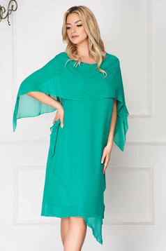 Green dress elegant from veil fabric straight asymmetrical voile overlay