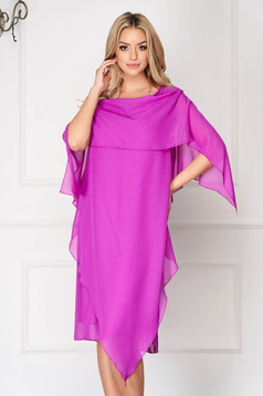 Purple dress elegant from veil fabric straight asymmetrical voile overlay