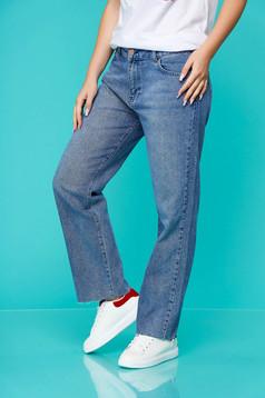Blue trousers casual denim straight medium waist