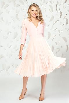 Fusta PrettyGirl roz prafuit eleganta midi plisata in clos din voal captusita pe interior