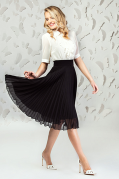 Black elegant midi cloche skirt from veil fabric folded up with inside lining