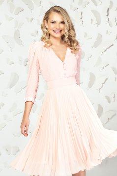 Lightpink women`s blouse elegant short cut from veil fabric plumeti