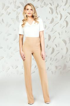 Pantaloni PrettyGirl crem eleganti evazati cu talie inalta