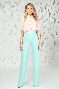 Pantaloni PrettyGirl mint eleganti evazati cu talie inalta