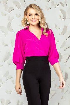 Body PrettyGirl roz elegant cu croi larg cu decolteu in v si maneci trei-sferturi