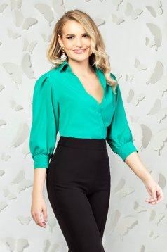 Body PrettyGirl verde elegant cu croi larg cu decolteu in v si maneci trei-sferturi