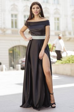 Black dress occasional long cloche from satin slit naked shoulders