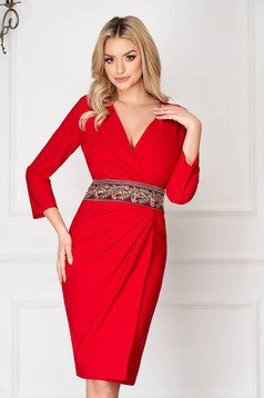 Red elegant midi pencil dress wrap around accessorized with a waistband