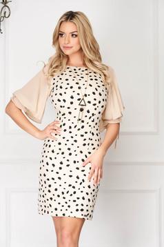 Cream elegant short cut pencil dress with veil sleeves dots print