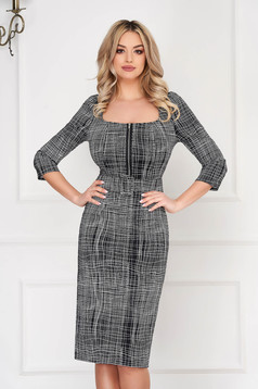 Black office midi pencil dress accessorized with belt zipper accessory with 3/4 sleeves