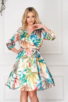 Cream dress short cut cloche thin fabric with elastic waist daily