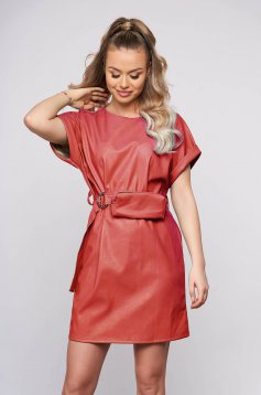 Coral casual straight short cut dress from ecological leather accessorized with belt