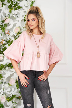 Lightpink elegant flared short cut women`s blouse, thin cotton fabric accesorised with necklace