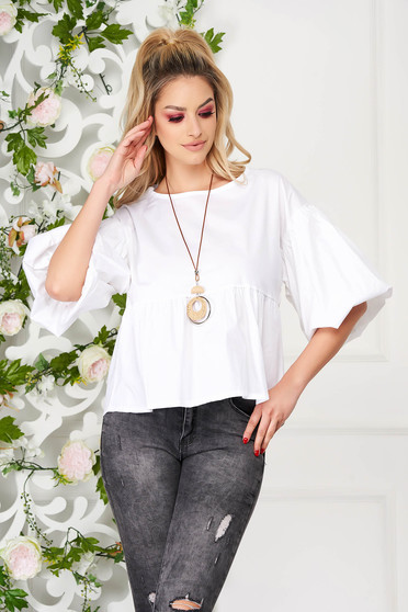 White elegant flared short cut women`s blouse poplin, thin cotton accesorised with necklace