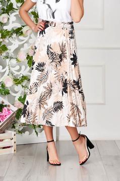 Fusta SunShine maro eleganta in clos midi cu imprimeu floral si talie inalta