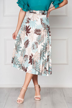 Fusta SunShine albastru-deschis eleganta in clos midi cu imprimeu floral si talie inalta