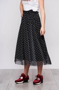 Black casual midi cloche skirt from veil fabric dots print with elastic waist