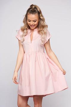 Pink casual midi dress poplin, thin cotton asymmetrical short sleeves