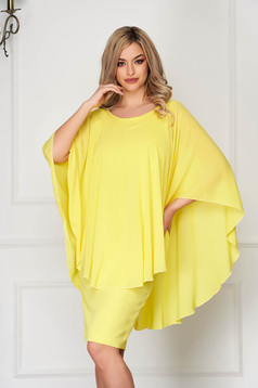 Dress StarShinerS yellow midi pencil cloth elegant voile overlay