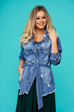 Blue casual short cut jacket ripped denim