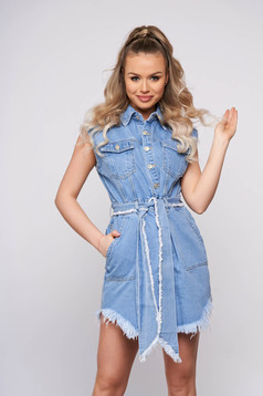 Blue casual daily short cut and sleeveless dress from denim accessorized with tied waistband