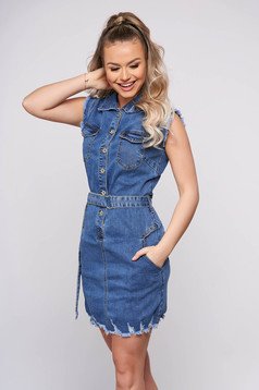 Blue casual short cut denim sleeveless dress with pockets