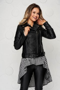 Black casual short cut jacket from ecological leather with buckles accessories