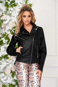 Black casual short cut jacket from ecological leather zipper accessory