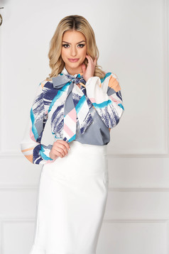 White StarShinerS office short cut flared women`s blouse with long sleeves
