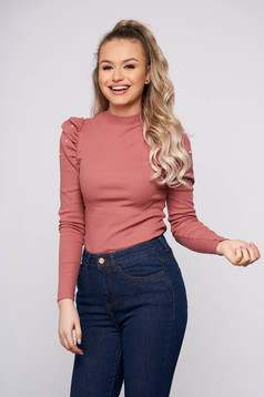 Lightpink elegant short cut cotton women`s blouse with turtle neck high shoulders tented