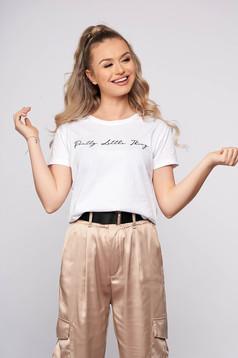 Tricou SunShine alb casual scurt din bumbac cu croi larg si imprimeu cu mesaje