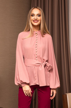 Lightpink elegant flared women`s blouse bell sleeves with puffed sleeves from veil fabric