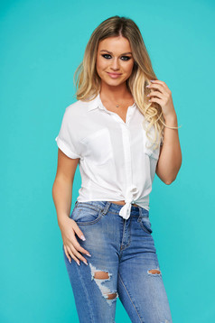 White women`s shirt casual flared cotton short sleeves