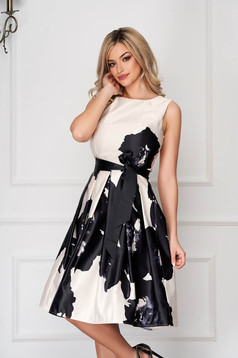 Cream dress occasional midi from satin sleeveless with floral print