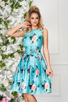 Aqua dress occasional midi from satin sleeveless with floral print
