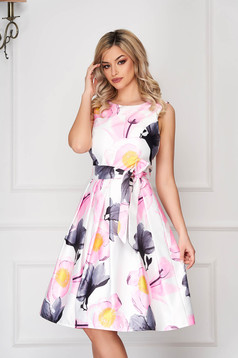 Grey dress occasional midi from satin sleeveless with floral print