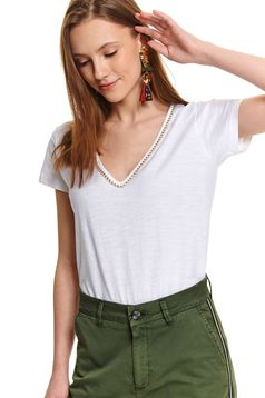 White t-shirt casual flared with v-neckline cotton