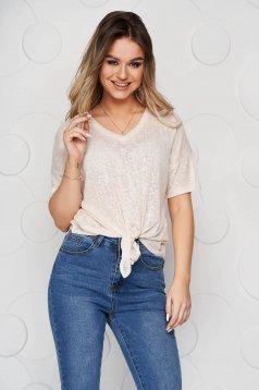 Bluza dama Top Secret piersica cu croi larg din material elastic cu nod in talie