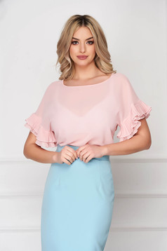 Women`s blouse StarShinerS lightpink office thin fabric flared large sleeves