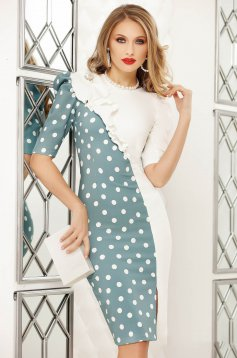 Turquoise elegant short cut pencil dress dots print with ruffle details