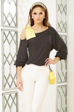 Black women`s blouse with bow one shoulder elegant flared short cut cotton