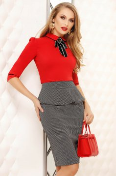 Red office tented short cut women`s shirt cotton accessorized with breastpin