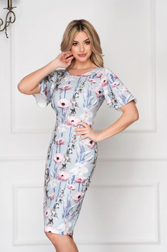 Elegant pencil midi with butterfly sleeves with floral print