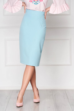 StarShinerS turquoise high waisted skirt office pencil cloth midi from elastic fabric