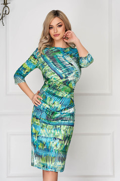 StarShinerS green dress office midi pencil long sleeved