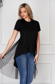 T-shirt StarShinerS black casual asymmetrical stretch flared with net accessory