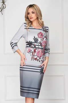 StarShinerS grey dress office midi pencil with 3/4 sleeves with floral print